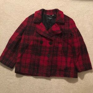 EUC TALBOTS R/B Plaid Peacoat Jacket Sz 14